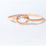 Tiny twisted gold knot ring, stacking ring