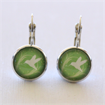Bird & Green Silver Earrings