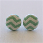 Buy 3 Get 1 Free! Green Chevron Fabric Button Stud Earrings
