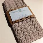 Crochet Face Cloth, Cotton in Latte
