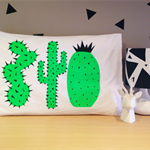 Hand screen printed Neon green Cactus Pillow case Standard size 100% cotton