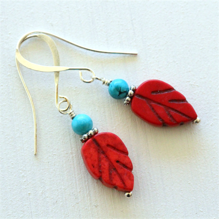 Red Leaf and Turquoise Bead Earrings