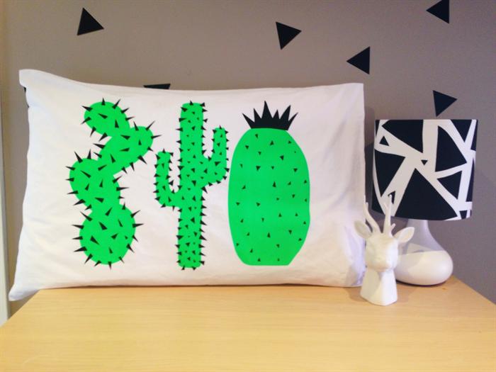 Hand Screen Printed Neon Green Cactus Pillow Case Standard