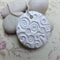 White Polymer Swirl Disk Necklace