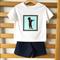 Boys Trumpet Tee T-shirt Set. Vintage Silhouette Print, Cotton. Size 3