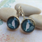 Teal Green with White Dove  Earrings