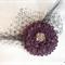 Burgundy flower with Swarovski crystals, hairclip/fascinator