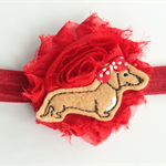 Red shabby chic flower and felt sausage dog headband