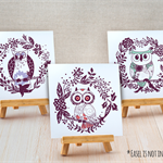 Sets of 3 Half Fold Greeting Cards - Owls(14829)