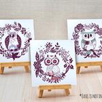 Sets of 3 Half Fold Greeting Cards - Owls(14829)