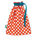 Drawstring Toy Bag. Retro Dots - Orange & Turquoise. Durable & Fully Lined.