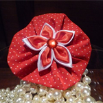 Hair Domayne Red Hairclip with White Spots Design and Satin Flower in Centre