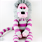 'Lara' the Sock Lioness - pink and grey stripes - *ready to post*