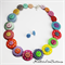 Rainbow Stripes and Spots - Button Necklace - Button Jewellery - Earrings