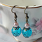 Blue Czech Glass Bead & Pink Pearl Shabby Chic Earrings