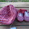 """Baby set - beret and """"dancing feet"""" shoes in pink corn silk fibre"""