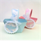 Baby Shower Favor Baskets in pink or blue. Baby feet pattern. Boy Girl gift box.
