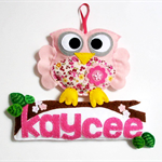 Owl - personalised felt name banner / plaque, nursery decoration