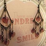 Lilac Glass Leaf Chandelier Earrings