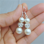Ivory Pearl Earrings, Pearl Drop Earrings, Cream Pearl and Rhinestone Earrings