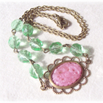 Vintage Pink and Green Necklace, Cabochon, Jewellery Spring Pastel