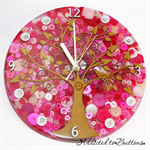 Tick Tock - Natural Tree of Life in Pink Buttons Resin clock - silent motion