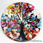 Spring Sunset Silhouette Tree of Life Buttons Resin clock - silent motion