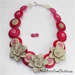 Blooming Gorgeous - Cream Flowers with Pink white Buttons - Necklace - Earrings