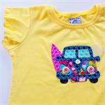 Summer Days Camper Van Applique on an Australian Made Flutter Sleeve Tshirt