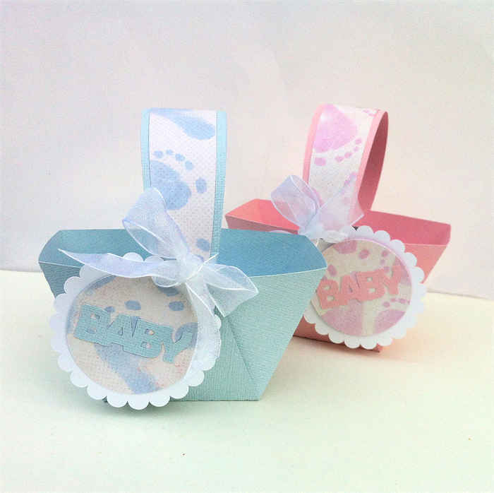 Baby shower favour baskets in pink or blue baby feet pattern boy baby shower favour baskets in pink or blue baby feet pattern boy girl gift negle Image collections