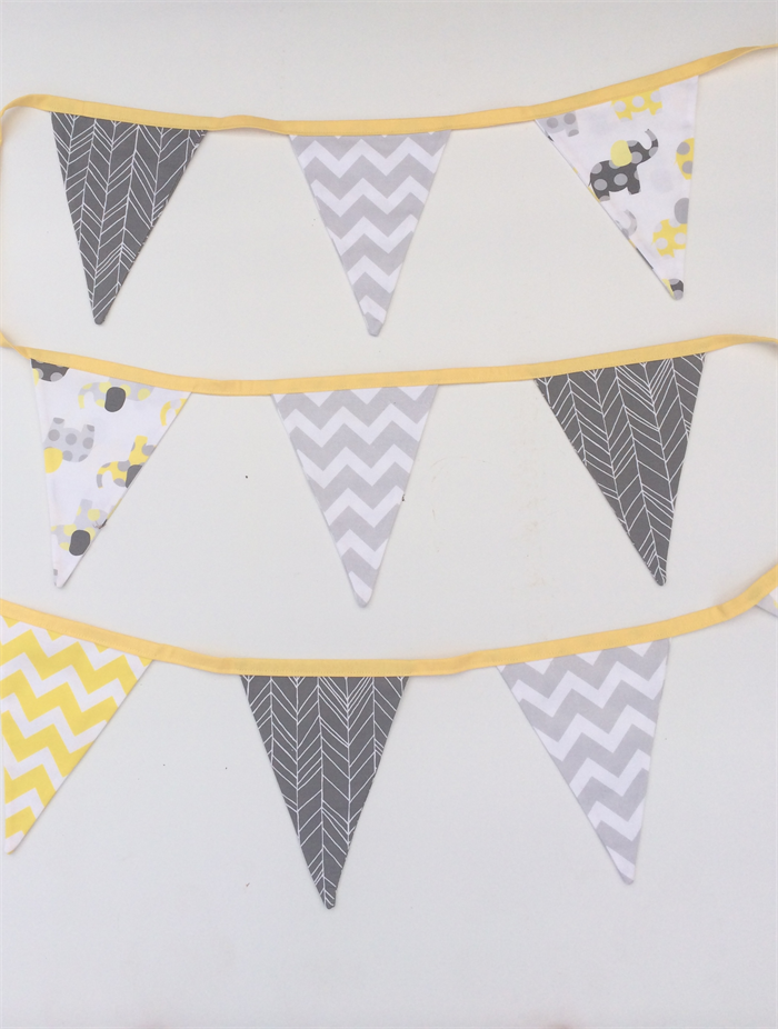 Bunting Flags For Baby Nursery In Yellow Grey Elephant Prints