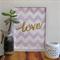 Chevon Love Watercolour Art Purple Lilac Mauve Gold Metallic