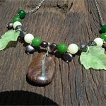 Rainforest Retreat SALE Aussie Opal Emeralds Pearls Prehnite Leaves Necklace