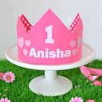 Pink Personalised Birthday Crown - you choose name and number