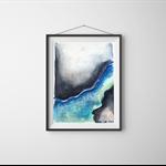 Dark Modern Abstract Art , Watercolour- Textured Giclee Print