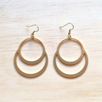 MATTE GOLD DOUBLE CIRCLE EARRINGS - FREE SHIPPING WORLDWIDE