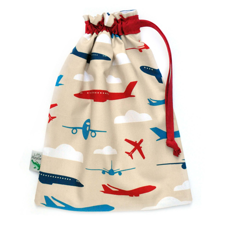 LAST ONE! Kids Toy Bag.  Drawstring Pouch. Planes in the Sky. Boys Toys.
