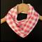PINK GINGHAM Organic and Cotton 3-Layered bandana bib with Stay-dry backing