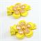Yellow & Gold Flower Hair Clip Pair