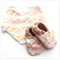 Peach Triangles Baby Shoes and Bandanna Bib Gift Set