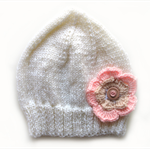 Girls White Knitted Wool Beanie Hat with Pink Flower : Child Kids SIZE 3 4 5