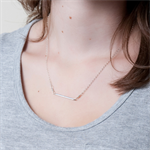 BAR NONE Necklace - Sterling Silver Chain with Rhodium Plated Horizontal Bar