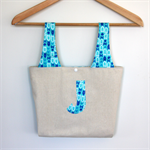 "Little Miss ""J"" Carry Bag & Snap Purse Set  - Arrows on frozen blue."