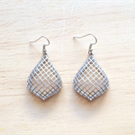 MATTE SILVER GRID EARRINGS - FREE SHIPPING WORLDWIDE