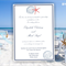 Set of 8 Wedding invitations Navy Blue and Coral beach wedding pattern by Oxee