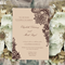 Set of 8 Wedding invitations Vintage brown lace pattern by Oxee