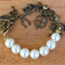 Antique Bronze Pearl & Charm Lucky & Happy Bracelet