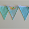 Designer Fabric Bunting - Boys Room Décor or Party Banner in Blue, Green, White