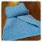 100% Wool Crochet Baby Blanket - Criss Cross Blue