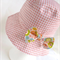 Girl's sun hat in pink gingham  pattern and cute bow for baby or child